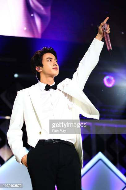 Jin of BTS performs onstage during 102.7 KIIS FM's Jingle Ball 2019 Presented by Capital One at the Forum on December 6, 2019 in Los Angeles,...