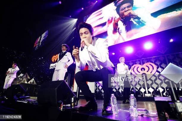 Jin of BTS performs onstage during 1027 KIIS FM's Jingle Ball 2019 Presented by Capital One at the Forum on December 6 2019 in Los Angeles California