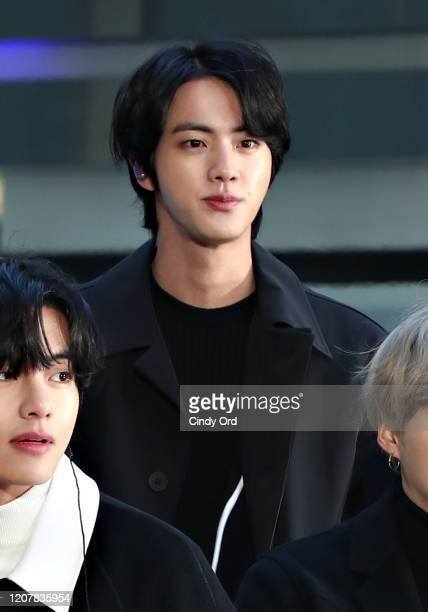 """Jin of the K-pop boy band BTS visit the """"Today"""" Show at Rockefeller Plaza on February 21, 2020 in New York City."""