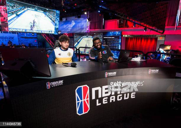 Jin of Warriors Gaming Squad speaks with NBA 2K analyst Phil Visu after the game during Week 5 of the NBA 2K League regular season on May 17 2019 at...