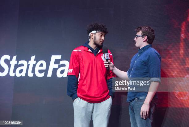 BigMeek of Bucks Gaming speaks to media after game against Wizards District Gaming on July 21 2018 at the NBA 2K Studio in Long Island City New York...