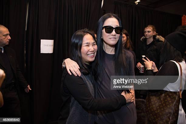 Jin Soon Choi and Designer Vera Wang backstage during the JINsoon at Vera Wang Fall 2015 New York Fashion Week Backstage at DIA on February 17 2015...