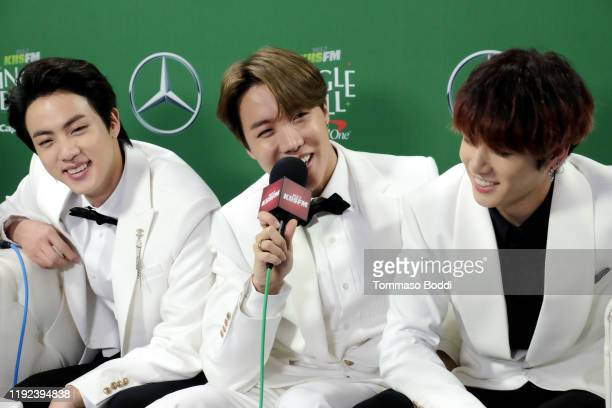 Jin SUGA and Jungkook of BTS attend 1027 KIIS FM's Jingle Ball 2019 Presented by Capital One at the Forum on December 6 2019 in Los Angeles California