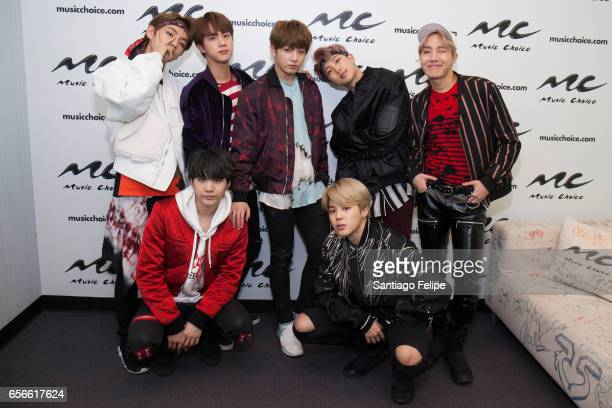Jin Suga JHope Rap Monster Jimin V and JungKook of the South Korean boy band 'BTS' visit Music Choice on March 22 2017 in New York City