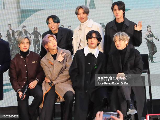 Jin, Suga, J-Hope, RM, Jimin, V and Jungkook of K-Pop band BTS are seen during an interview at the 'Today' Show on February 21, 2020 in New York City.