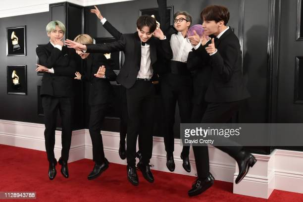Jin Suga JHope RM Jimin V Jungkook of BTS attend the 61st Annual Grammy Awards at Staples Center on February 10 2019 in Los Angeles California