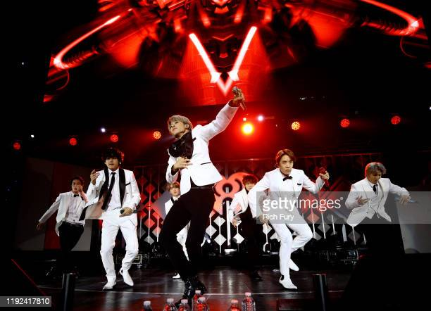 Jin, V, Jimin, J-Hope, and RM of BTS perform onstage during 102.7 KIIS FM's Jingle Ball 2019 Presented by Capital One at the Forum on December 6,...