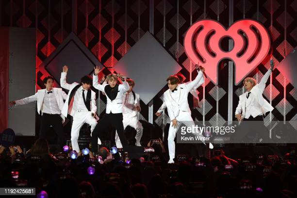 Jin V Jimin JHope and RM of BTS perform onstage during 1027 KIIS FM's Jingle Ball 2019 Presented by Capital One at the Forum on December 6 2019 in...