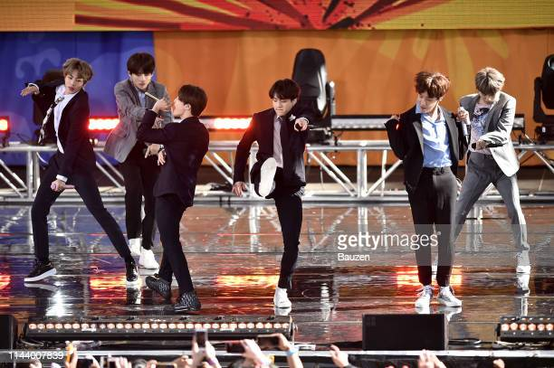 Jin V Jimin Jungkook JHope and Suga of BTS perform on Good Morning America on May 15 2019 in New York City