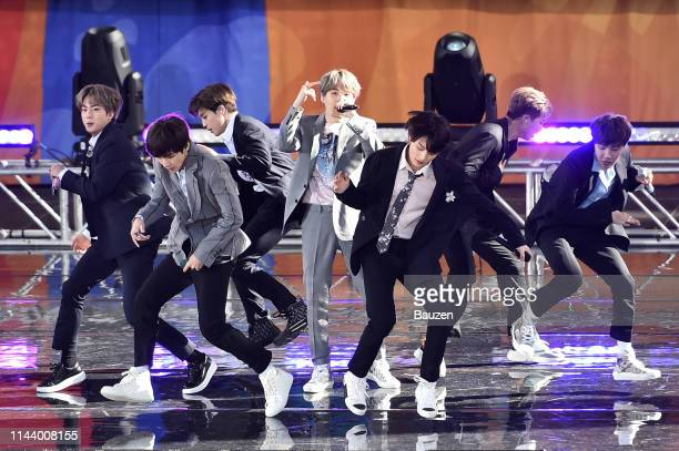 Jin V Jimin Suga Jungkook RM and JHope of BTS perform on Good Morning America on May 15 2019 in New York City