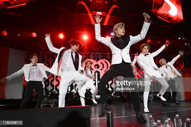 Jin, V, Suga, Jimin, Jungkook, J-Hope, and RM of BTS perform onstage during 102.7 KIIS FM's Jingle Ball 2019 Presented by Capital One at the Forum on...