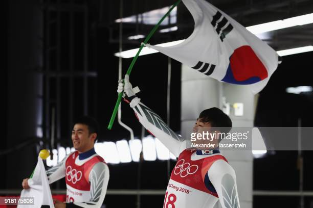 Jin Yong Park and Jung Myung Cho of Korea celebrate after their run during the Luge Doubles on day five of the PyeongChang 2018 Winter Olympics at...