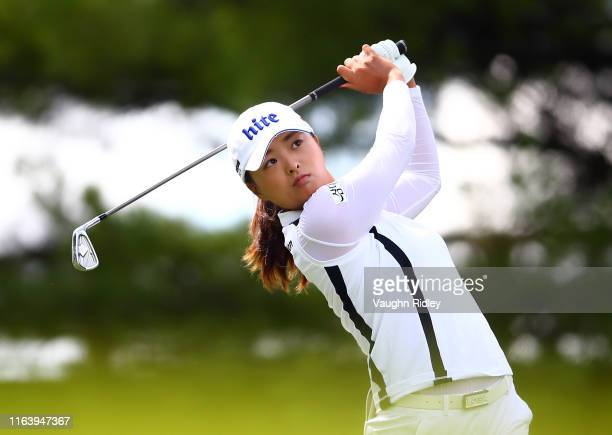 Jin Young Ko of Korea hits her tee shot on the 2nd hole during the final round of the CP Women's Open at Magna Golf Club on August 25 2019 in Aurora...