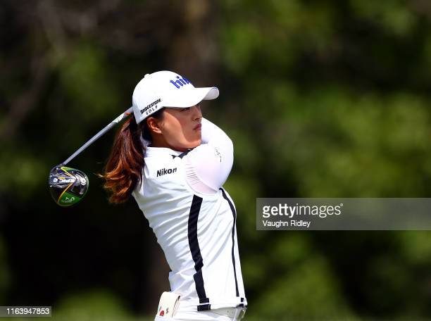 Jin Young Ko of Korea hits her tee shot on the 3rd hole during the final round of the CP Women's Open at Magna Golf Club on August 25 2019 in Aurora...