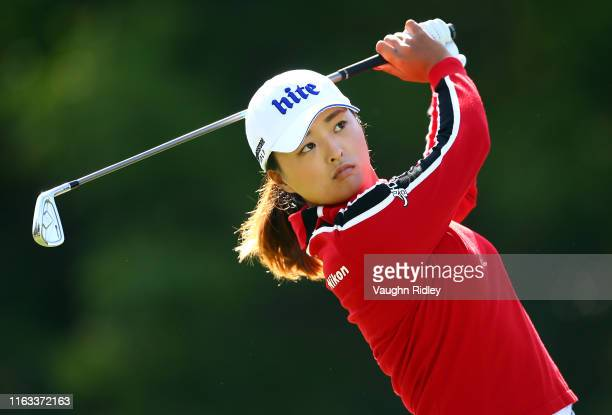 Jin Young Ko of Korea hits her tee shot on the 8th hole during the second round of the CP Women's Open at Magna Golf Club on August 23 2019 in Aurora...