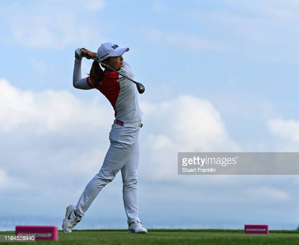 Jin Young Ko of Korea plays a shot during day 3 of the Evian Championship at Evian Resort Golf Club on July 27 2019 in EvianlesBains France