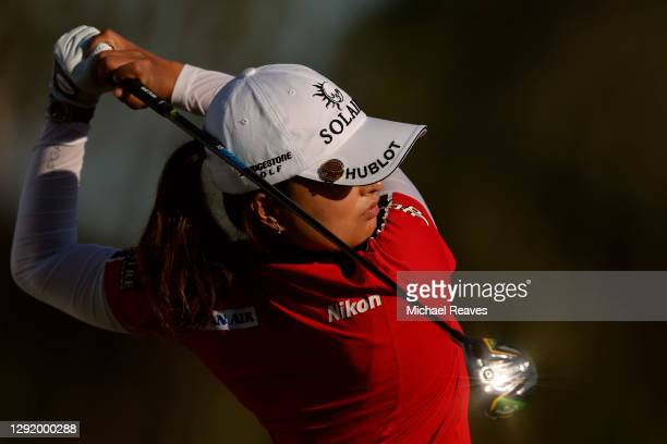 Jin Young Ko of Korea plays her shot from the 18th tee during the second round of the CME Group Tour Championship at Tiburon Golf Club on December...