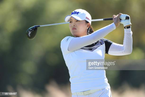 Jin Young Ko of Korea plays her shot from the third tee during the first round of the CME Group Tour Championship at Tiburon Golf Club on November 21...