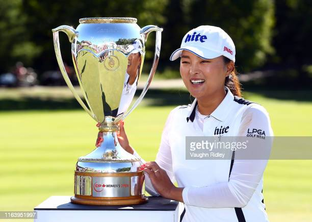 Jin Young Ko of Korea poses with the CP Women's Open Championship Trophy following the final round at Magna Golf Club on August 25 2019 in Aurora...