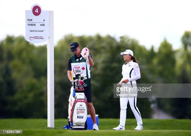 Jin Young Ko of Korea prepares to hit her tee shot on the 4th hole during the final round of the CP Women's Open at Magna Golf Club on August 25 2019...