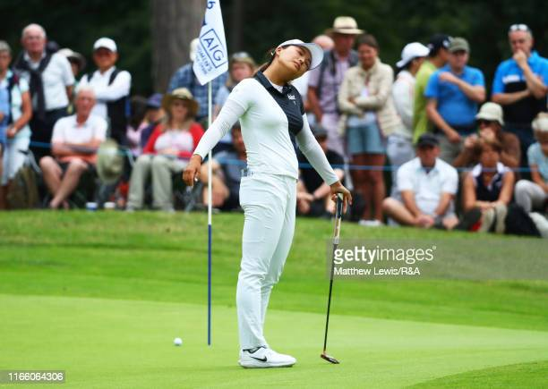 Jin Young Ko of Korea Republic reacts after a birdie attempt on the 16th green during Day Four of the AIG Women's British Open at Woburn Golf Club on...