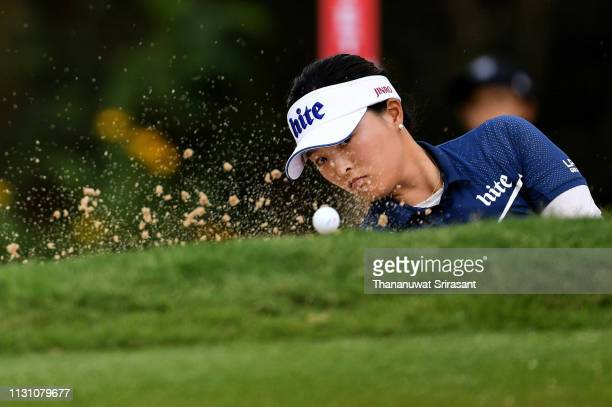 Jin Young Ko of Republic of Korea hits out of a trap during the first round of the Honda LPGA Thailand at the Siam Country Club Pattaya on February...