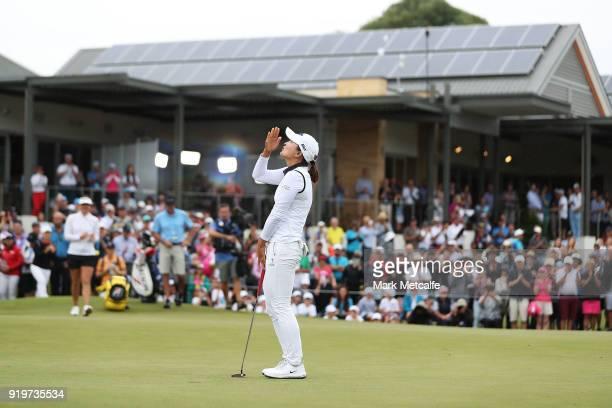 Jin Young Ko of South Korea celebrates winning the Women's Australian Open on the 18th green during day four of the ISPS Handa Australian Women's...