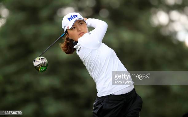 Jin Young Ko of South Korea hits her tee shot on the second hole during the first round of the Meijer LPGA Classic at Blythefield Country Club on...