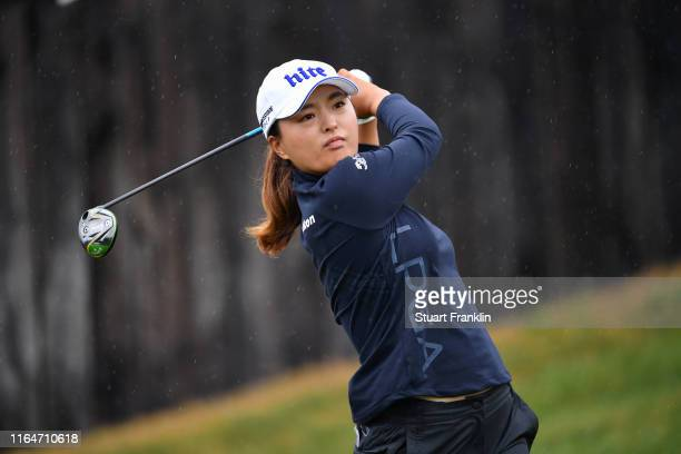 Jin Young Ko of South Korea in action on the 6th hole during day 4 of the Evian Championship at Evian Resort Golf Club on July 28 2019 in...