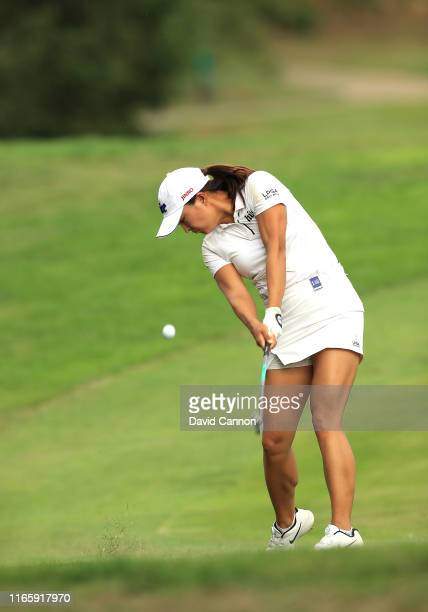 Jin Young Ko of South Korea plays her second shot on the par 5 15th hole during the third round of the AIG Women's British Open on the Marquess...