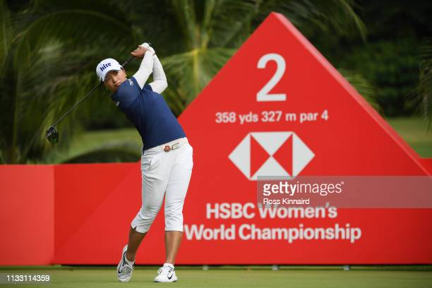 Jin Young Ko of South Korea plays her shot from the second tee during the third round of the HSBC Women's World Championship at Sentosa Golf Club on...