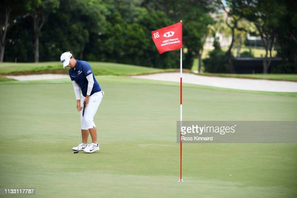 Jin Young Ko of South Korea putts for birdie on the 18th green during the third round of the HSBC Women's World Championship at Sentosa Golf Club on...