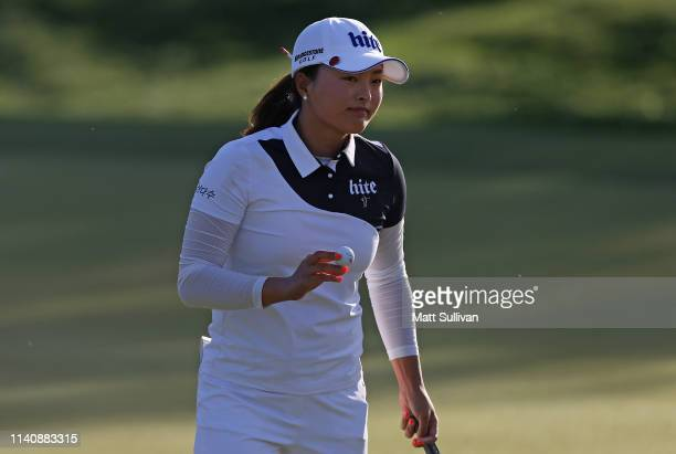 Jin Young Ko of South Korea reacts after making a birdie on the 17th hole during the third round of the ANA Inspiration on the Dinah Shore course at...