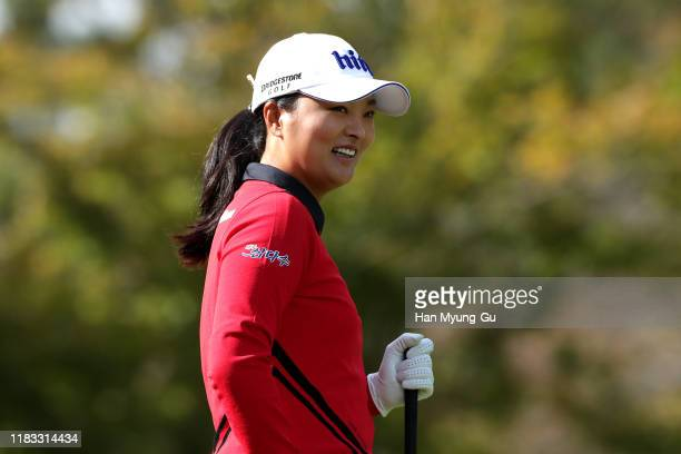 Jin Young Ko of South Korea reacts on the second hole during Round 2 of 2019 BMW Ladies Championship at LPGA International Busan on October 25 2019...