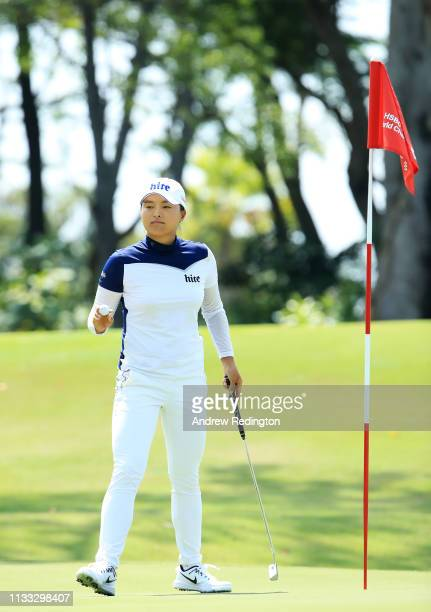 Jin Young Ko of South Korea reacts to her birdie on the sixth green during the final round of the HSBC Women's World Championship at Sentosa Golf...
