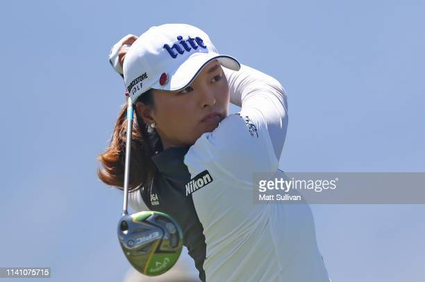 Jin Young Ko of South Korea watches her tee shot on the fourth hole during the final round of the ANA Inspiration on the Dinah Shore course at...