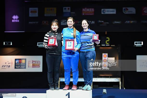 Jin Yun of Korea and Claudia Mandia of Italia and Naomi Folkard of Great Britain on the Podium during the Stage World Cup Indoor on January 22 2017...