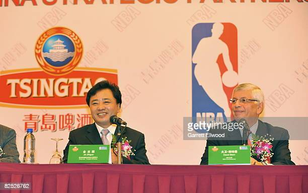 Jin Zhiguo Chairman of Tsingtao Brewery and NBA Commissioner David Stern announces a partership between the NBA and Tsingtao durng a Press Conference...