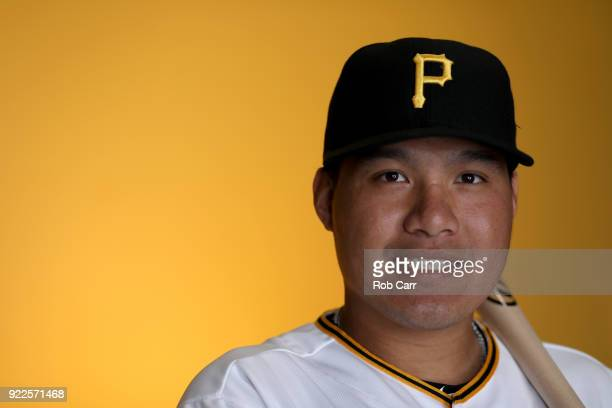 JinDe Jhang of the Pittsburgh Pirates poses for a photo during photo days at LECOM Park on February 21 2018 in Bradenton Florida