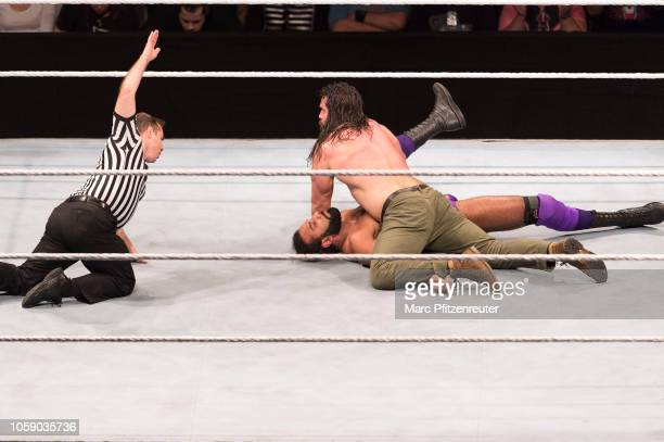 Jinder Mahal competes in the ring against Elias during the WWE Live Show at Lanxess Arena on November 7, 2018 in Cologne, Germany.