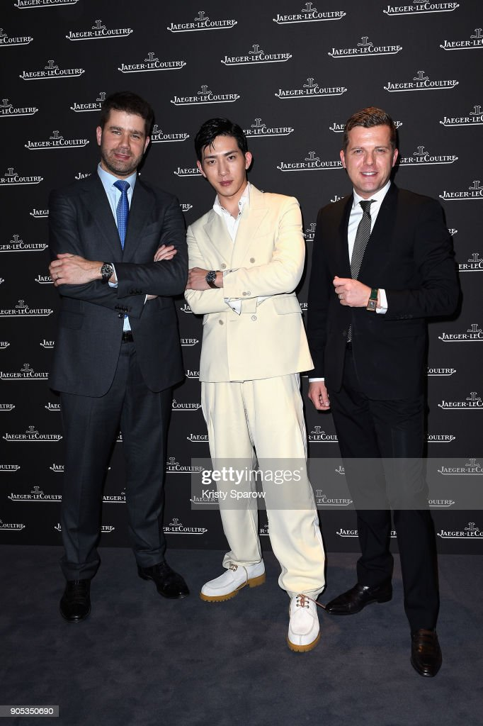 Jing Boran (C), Geoffroy Lefebvre (L) and Pierre Millereau attend Jaeger-LeCoultre Polaris at Pavillon Sicli on January 15, 2018 in Les Acacias, Switzerland.