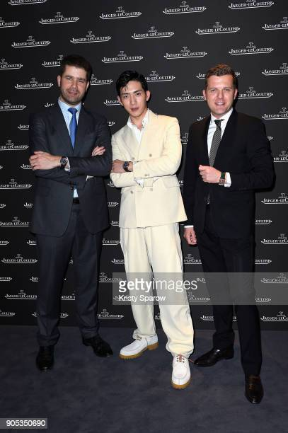 Jing Boran Geoffroy Lefebvre and Pierre Millereau attend JaegerLeCoultre Polaris at Pavillon Sicli on January 15 2018 in Les Acacias Switzerland