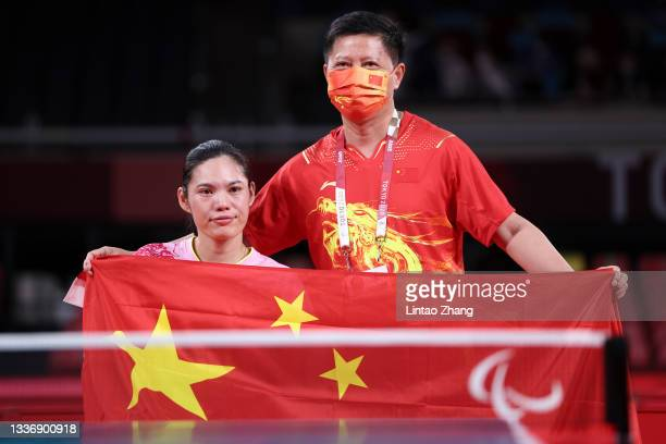 Jing Liu of Team China celebrates after winning the Table Tennis Women's Singles - Classes 1-2 Gold Medal Match against Su Yeon Seo of Team Republic...