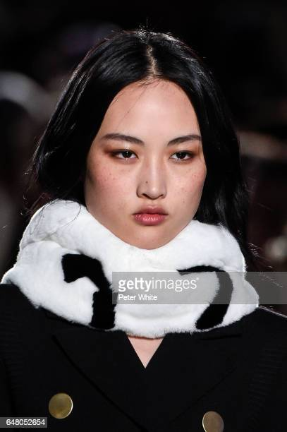 Jing Wen beauty detail walks the runway during the Sonia Rykiel show as part of the Paris Fashion Week Womenswear Fall/Winter 2017/2018 on March 4...
