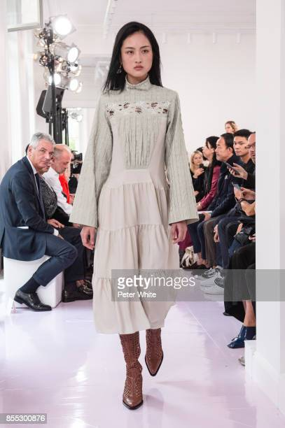 Jing Wen walks the runway during the Chloe show as part of the Paris Fashion Week Womenswear Spring/Summer 2018 on September 28 2017 in Paris France