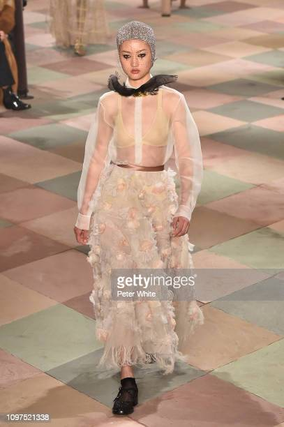 Jing Wen walks the runway during the Christian Dior Spring Summer 2019 show as part of Paris Fashion Week on January 21 2019 in Paris France