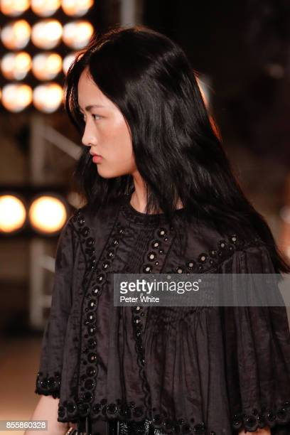 Jing Wen walks the runway during the Isabel Marant show as part of the Paris Fashion Week Womenswear Spring/Summer 2018 on September 28 2017 in Paris...