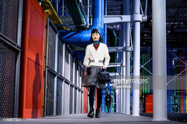 Jing Wen walks the runway during the Louis Vuitton show as part of the Paris Fashion Week Womenswear Fall/Winter 2019/2020 on March 05 2019 in Paris...