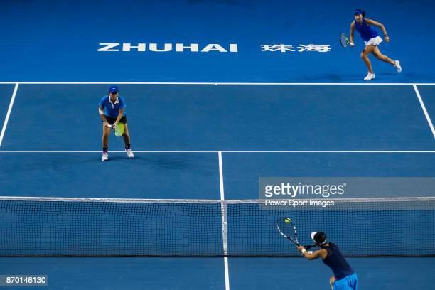 Jing Xinyu Jiang and Qianhui Tang of China in action during the doubles Round Robin match of the WTA Elite Trophy Zhuhai 2017 against JingJing Lu and...