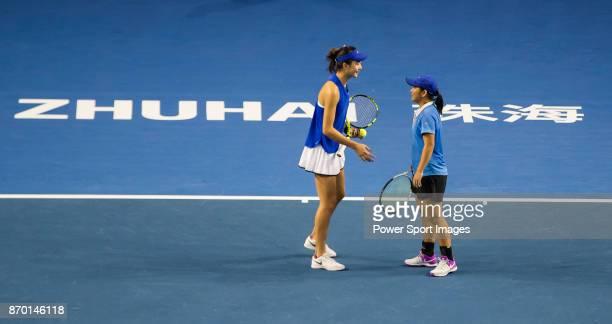 Jing Xinyu Jiang and Qianhui Tang of China talk during the doubles Round Robin match of the WTA Elite Trophy Zhuhai 2017 against JingJing Lu and...